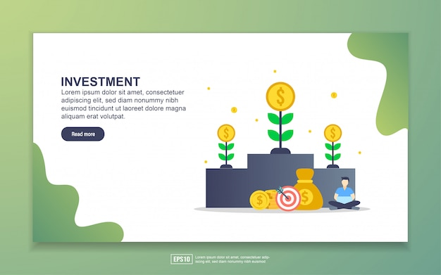 Landing page template of investment. modern flat design concept of web page design for website and mobile website.