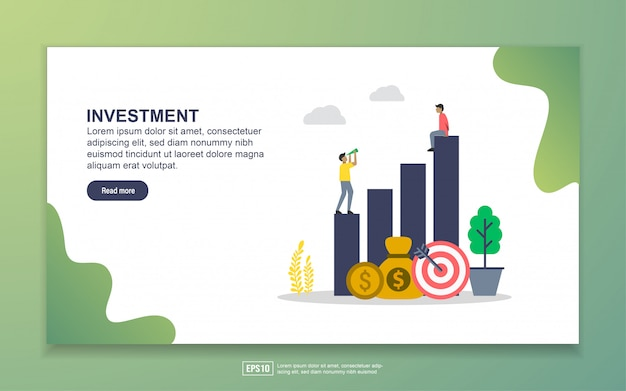Landing page template of investment. modern flat design concept of web page design for website and mobile website