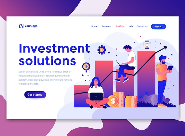 Landing page template of investment solutions