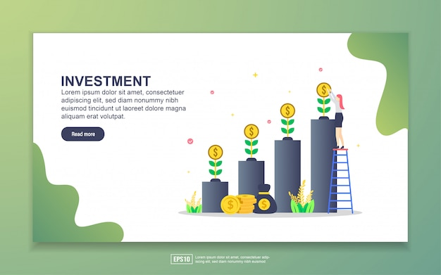 Landing page template of investment