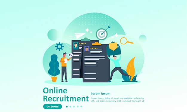 Landing page template of job hiring with character