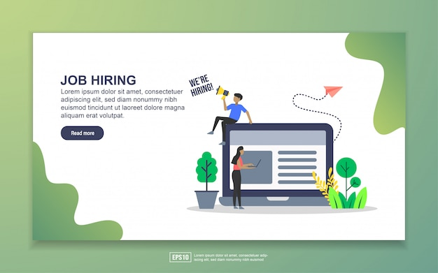 Landing page template of job hiring