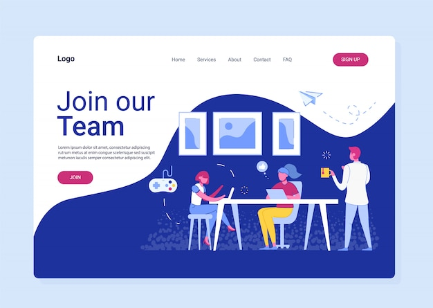 Landing page template of join our team.