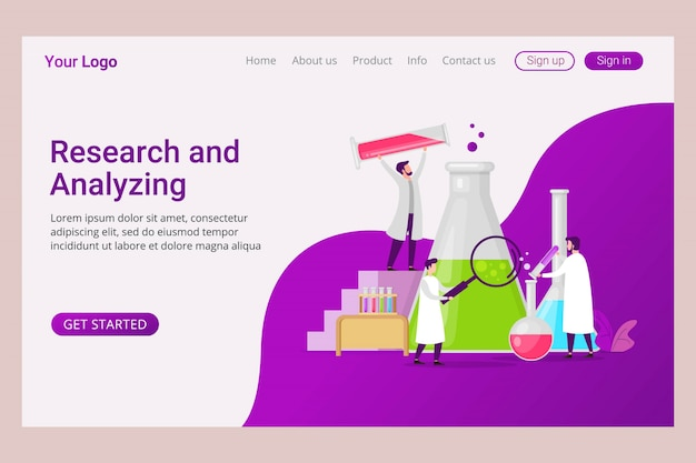 Landing page template laboratory analyzing and research service