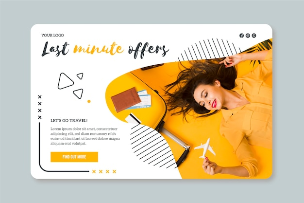 Landing page template for last minute travel