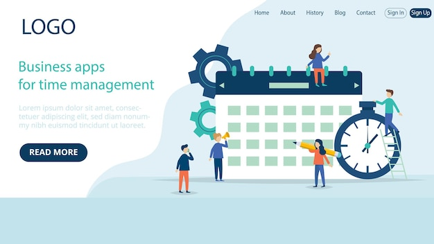 Landing page template layout of business time management application