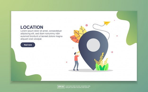 Landing page template of location. modern flat design concept of web page design for website and mobile website.