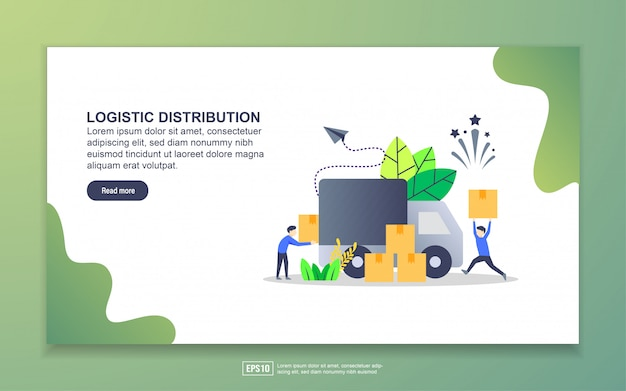 Landing page template of logistic distribution