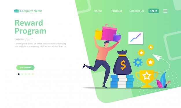 Landing page template of loyalty program and get rewards