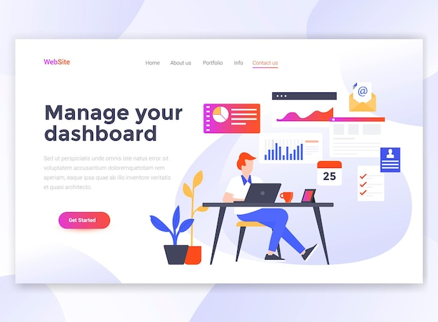 Landing page template of manage your dashboard.