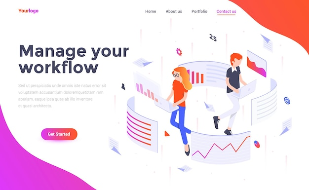 Landing page template of manage your workflow in isometry style