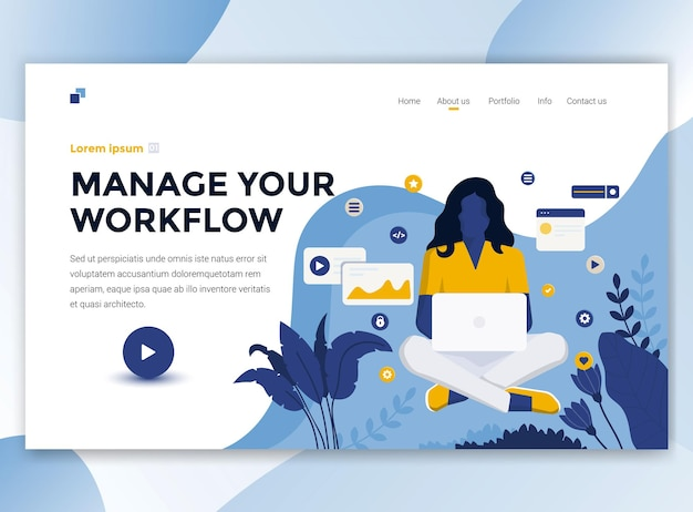 Landing page template of manage your workflow
