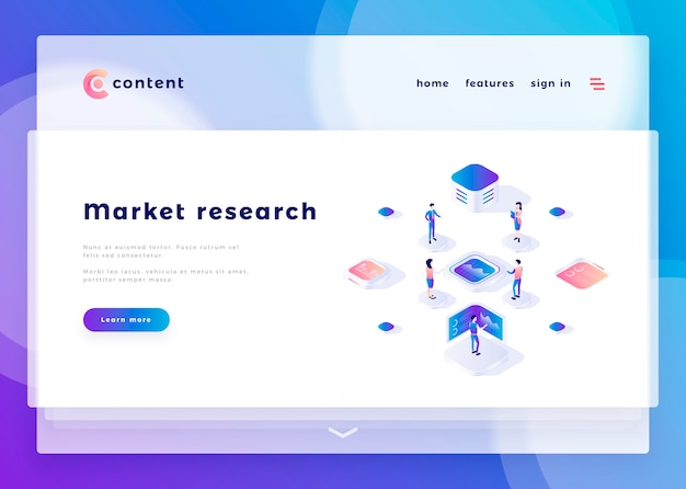 Landing page template for market research office people and interact with computers vector illustration