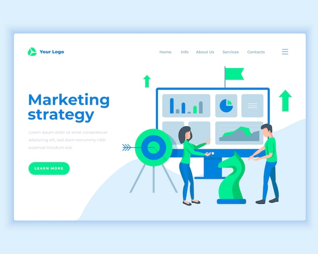 Landing page template marketing strategy concept with office people.