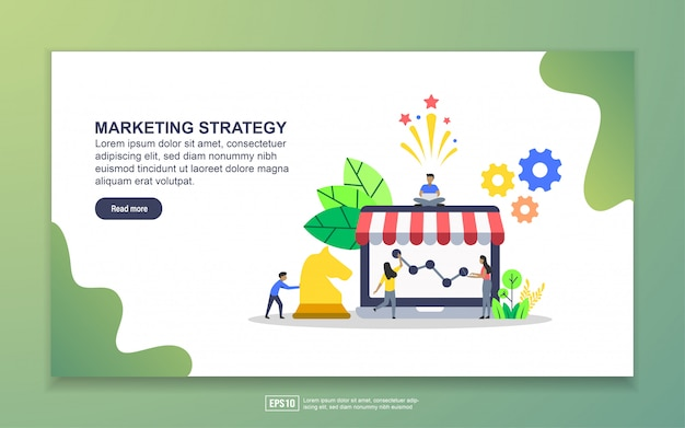Landing page template of marketing strategy. modern flat design concept of web page design for website and mobile website