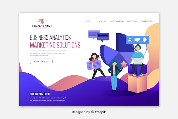 Landing page template for marketing
