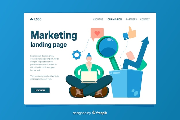 Landing page template of marketing