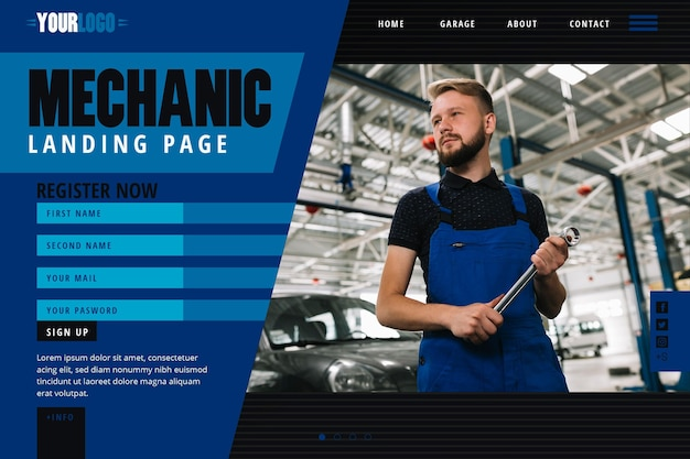 Landing page template for mechanic shop