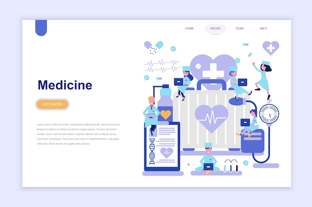 Landing page template of medicine
