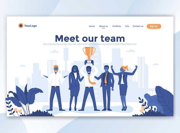 Landing page template of meet our team. modern flat design for website