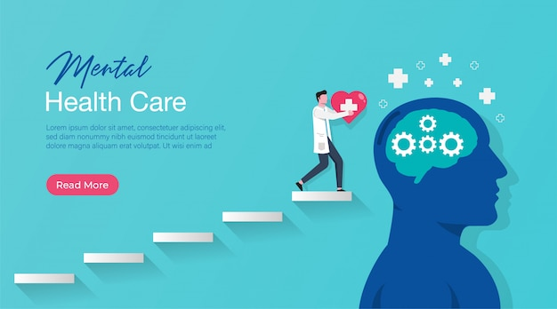 Landing page template of mental health medical treatment with specialist doctor gives psychology therapy.