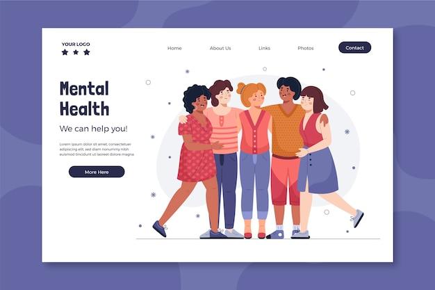 Modello di pagina di destinazione per la salute mentale Vettore gratuito