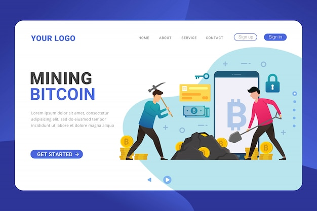 Landing page template mining bitcoin design concept illustration