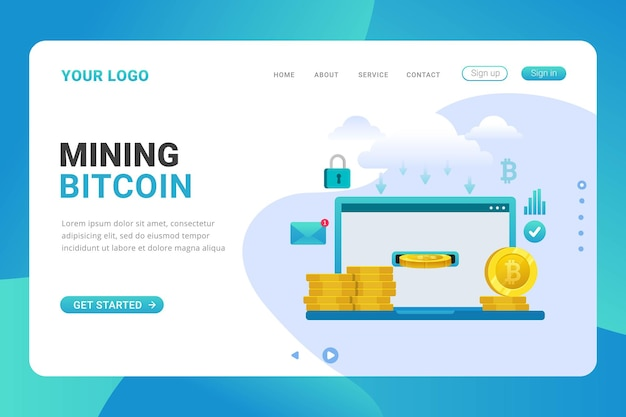 Landing page template mining bitcoin on laptop design concept