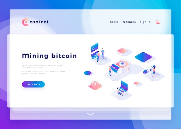Landing page template for mining bitcoin office people and interact with computers vector illustration