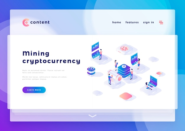 Landing page template for mining cryptocurrency office people and interact with computers vector illustration