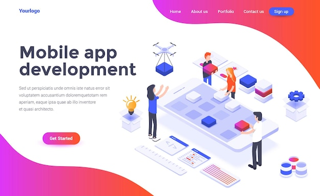 Landing page template of mobile app development in isometry style