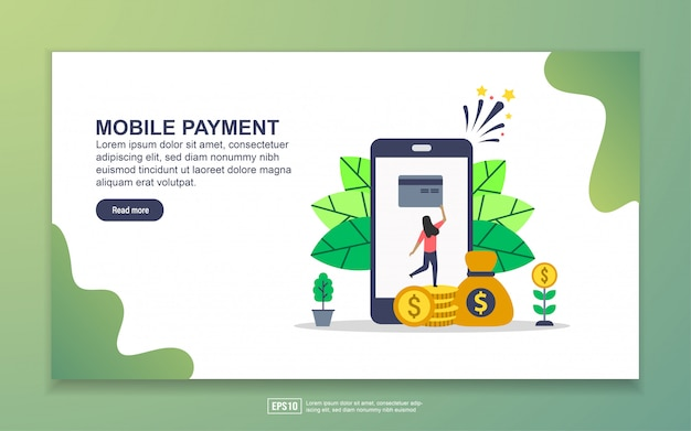 Landing page template of mobile payment. modern flat design concept of web page design for website and mobile website.