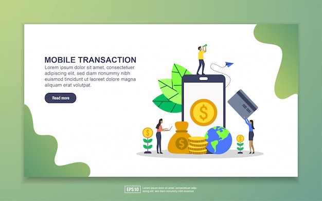 Landing page template of mobile transaction. modern flat design concept of web page design for website and mobile website