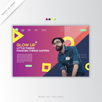 Landing page template, modern and colorful style