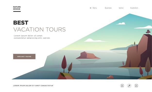 방문 페이지 템플릿입니다. 현대 풍경 배경 나무와 산봉우리입니다. 벡터 일러스트 레이 션
