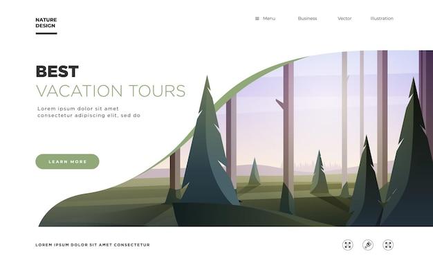 방문 페이지 템플릿 나무와 언덕 휴가 여행 상업과 현대 풍경 배경