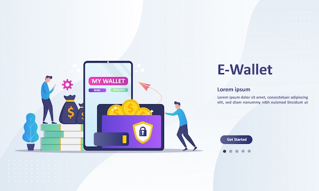 Landing page template of money transfer to e-wallet concept