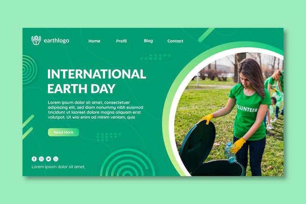 Landing page template for mother earth day celebration