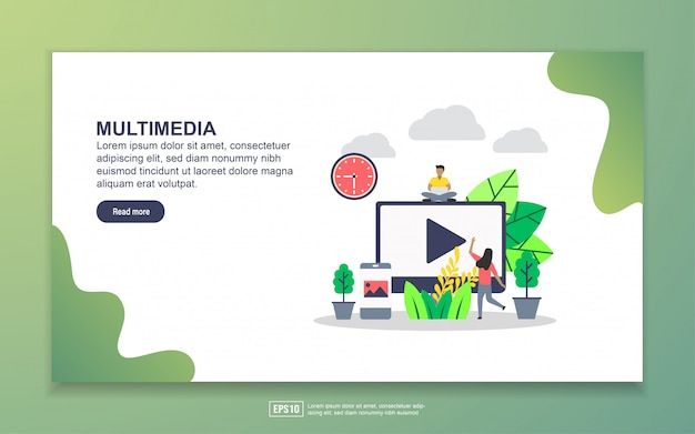 Landing page template of multimedia. modern flat design concept of web page design for website and mobile website