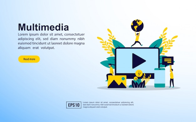 Landing page template. multimedia