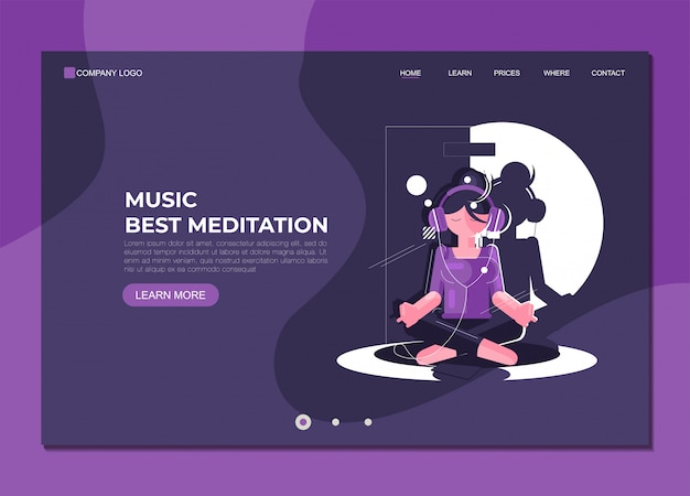 Landing page template music best meditation