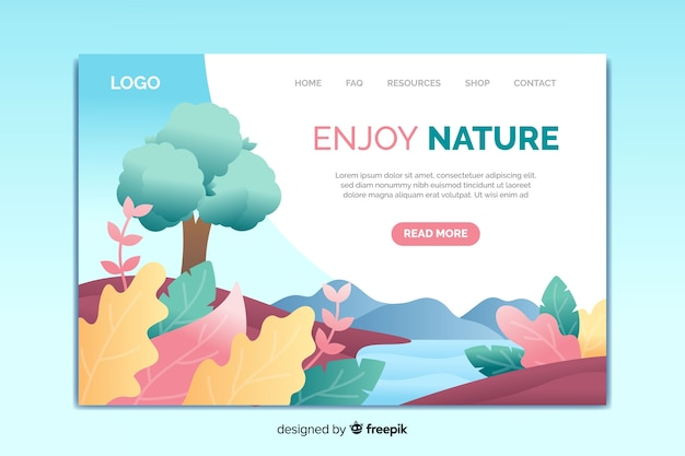 Landing page template of nature