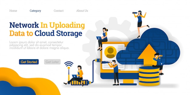 Landing page template. network in uploading data to cloud storage. upload data on  database to cloud for sharing