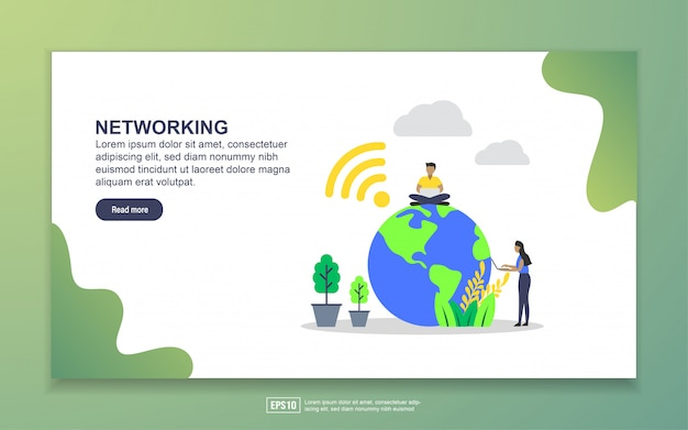 Landing page template of networking. modern flat design concept of web page design for website and mobile website