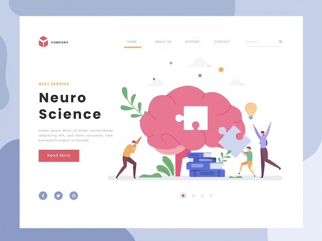 Landing page template, neuroscience, flat tiny parent guiding their boy solving puzzle. simbolic neuron brain. brainstorming, scientific research. flat style.