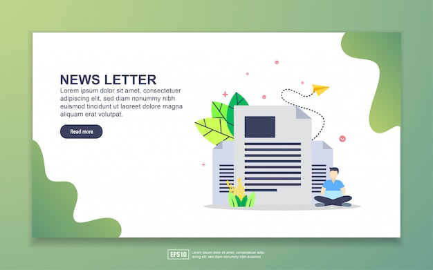 Landing page template of newsletter. modern flat design concept of web page design for website and mobile website.