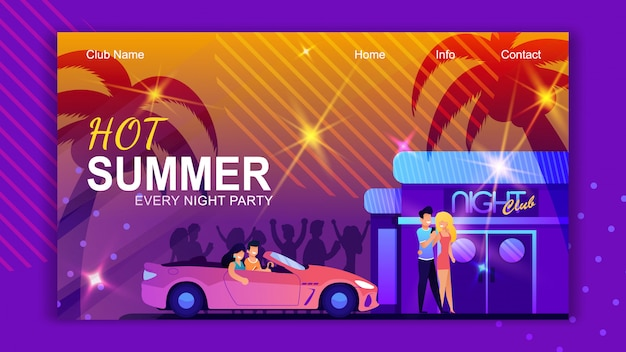 Landing page template for nightclub. hot summer in tropical island advertisement.