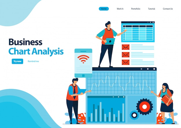 ビジネス戦略および開発を計画するためのビジネスチャート分析のランディングページテンプレート。パフォーマンスレポートのレビューと分析。