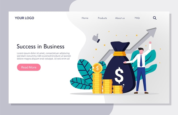 Шаблон целевой страницы бизнес-концепции. бизнесмен успеха с мешком денег и символом стрелки.