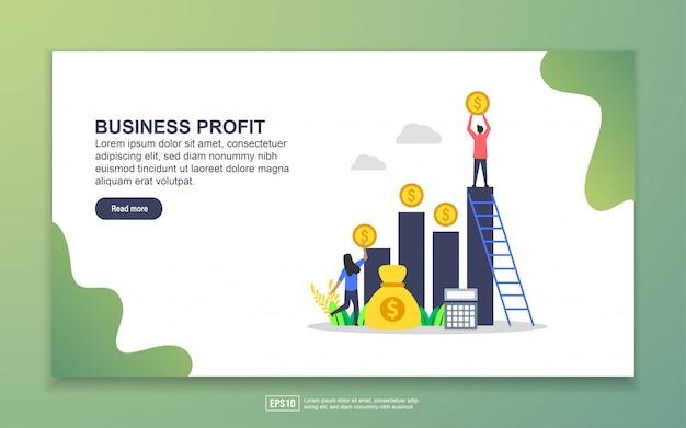 ビジネス利益のランディングページテンプレート。 webサイトおよびモバイルwebサイトのwebページデザインのモダンなフラットデザインコンセプト